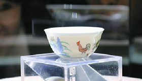 Ming Dynasty 'Chicken Cup' on display at the Long Museum